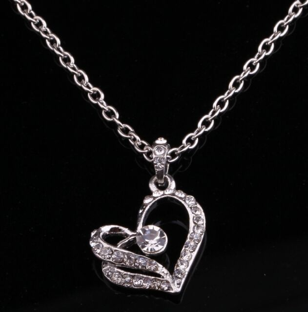 Fashion Women Silver White Chain Necklace With Crystal Heart Pendant Wedding