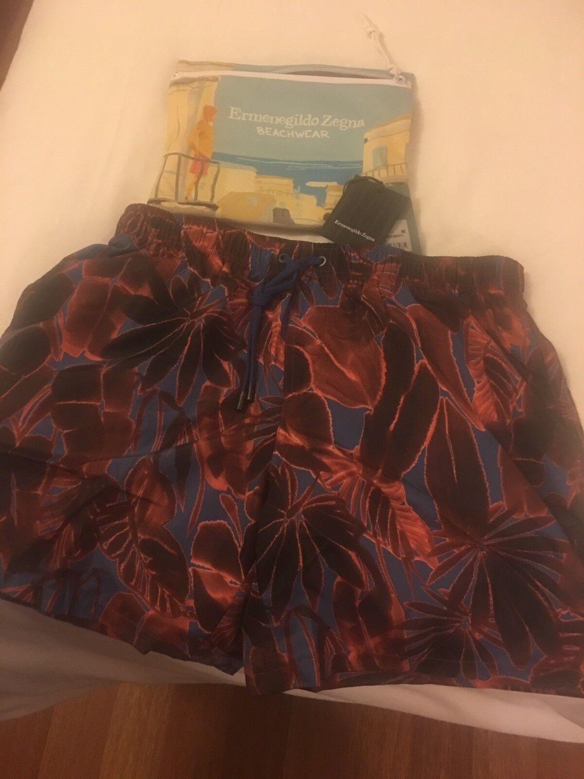 Ermenegildo Zegna SS18 Swim Opera Red Liberty Swimming Men's Shorts M BNWT