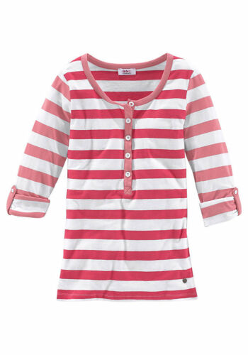 Flg Women Shirt Pullover Long Sleeve Stripes Tunic Button Row Stretch 399274