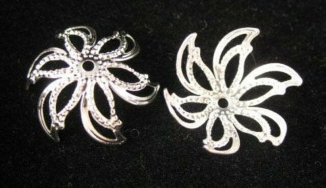 100pcs Silver Plated Flower Bead Caps E600