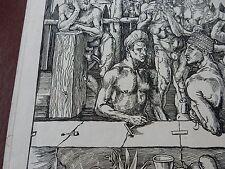 L'Uomo Bagni termali. artista: Albrecht Dürer originale old vecchia xilografia EX SEEGER