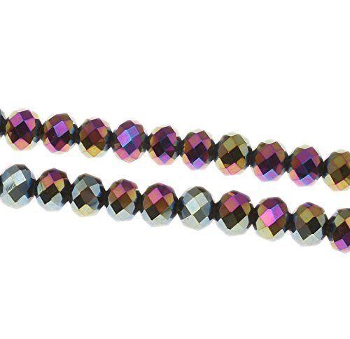 15 irisierend 10mm rondell checa cristal perlas de vidrio joyas Best x248