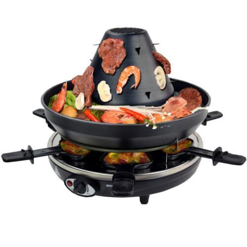Tatarenhut Grill Raclette für 6 Personen 1500W Kontaktgrill mit Pfännchen
