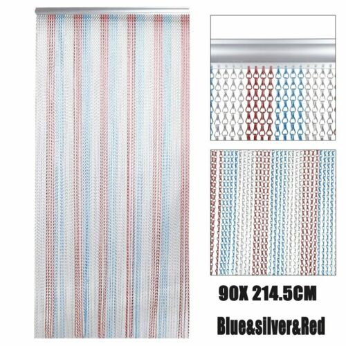 Metal Aluminium Chain Link Fly Pest Insect Door Screen Curtain Red Blue B