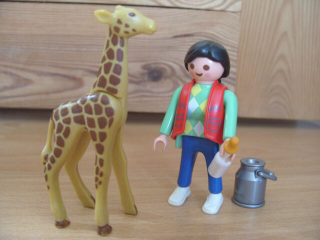 Playmobil Set 3253 Baby Giraffe And Zoo Keeper Rare For