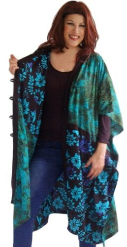 WOMENS FASHION KIMONO JACKET RAYON BATIK 5 BUTTON OSFA LotusTraders MTO I958