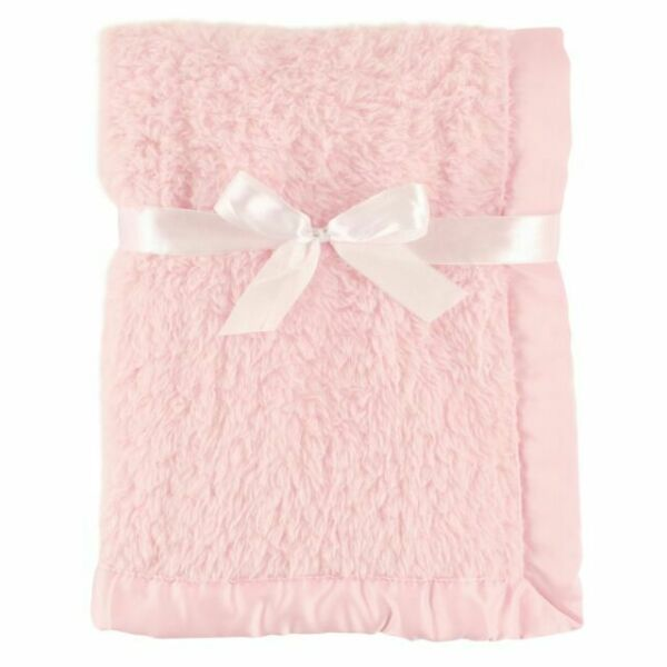 Hudson Baby Sherpa Blanket With Satin Binding Pink For