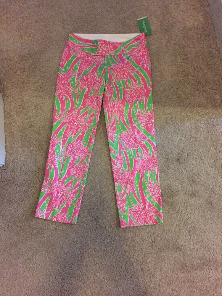Lilly Pulitzer Bailey Capri NWT 0 Pink Green Sea grass Green Easy Tiger