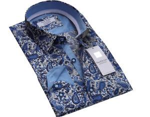 Men-039-s-Lujosas-de-Algodon-Disenador-Paisley-Shirt-Tallas-S-a-3XL-Formal-Informal-Floral