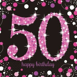 Image Is Loading 16 X Pink Celebration Age 50 Napkins