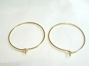 12 (6 pairs) Gold Plated 30mm Hoop Ear Wires