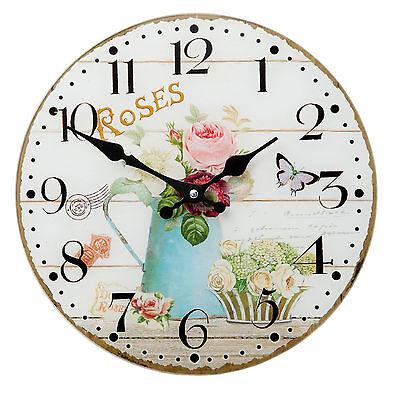 Küchenuhr Wanduhr Landhausstil Glas Rosen Uhr Nostalgie Quartzuhr zum Aufhängen