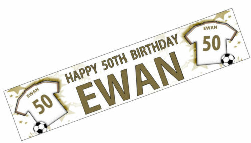 PERSONALISED BANNER NAME AGE PHOTO BIRTHDAY FOOTBALL 24th 25th 26th 27th 28th K2