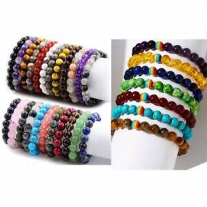 8mm-Chakra-Handmade-Natural-Gemstone-Round-Beads-Bracelet-Healing-Reiki-Lucky