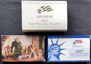 USA-2007-S-Proof-Set-PP-polierte-Platte-State-Quarter-Presidental-Dollars-1c-1