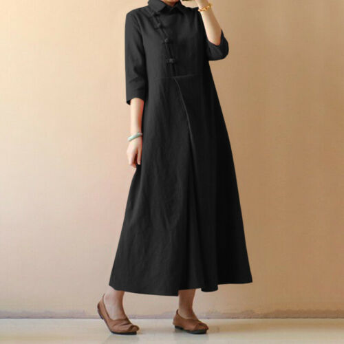 Women Casual Party Evening Ladies Solid Retro Diagonal Blouson Maxi Shirt Dress