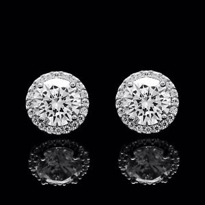 1-50CT-Brilliant-Round-Created-Diamond-Halo-Stud-Earrings-925-Sterling-Silver