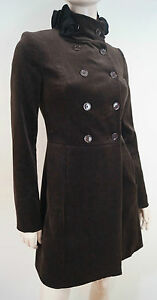 BLUGIRL-BLUMARINE-Brown-Cotton-Stretch-Black-Floral-Neck-Felt-Jacket-Coat-I38