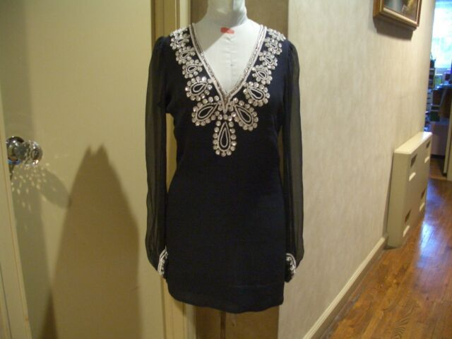 1ee7fc9adc4e9 FRENCH CONNECTION NAVY WHITE   SILVER BEADED SEQUIN LINED SILK TUNIC DRESS  SZ 6