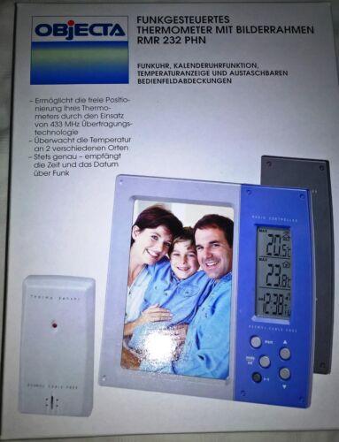 nouveau neuf dans sa boîte Objecta funkthermometer avec Cadre Photo et Horloge radiopilotée