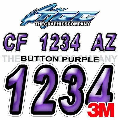 Cartoon Purple Custom Boat Registration Numbers Decals Vinyl Lettering Stickers