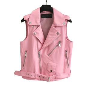3e01bdf83 Details about Ladies Women Biker Vest Pink Short Rider Motorcycle Motorbike  Lamb Leather SK1