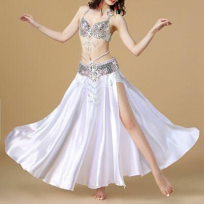 2019 Belly Dance Skirt sets Satin Costume  2 slits skirt Carnival Top belt skirt