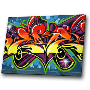 Details About Abstract Canvas Prints Framed Wall Art Small Picture Yellow Purple Graffiti Cool