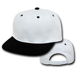 dca20674a96 White   Black Vintage Flat Bill Snap Back Baseball Cap Caps Hat Hats ...