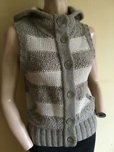 Fat Face ~ Natural Beige Striped Hooded Cardigan Waistcoat with Pockets  Size 10