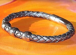 Mens-ladies-Silver-braided-leather-amp-stainless-steel-bracelet-by-Lyme-Bay-Art