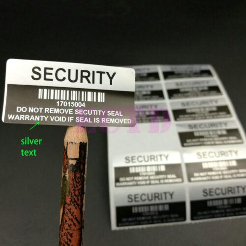 500 ~VOID Security Label Removed Tamper Evident Warranty Sticker Silver /& Black