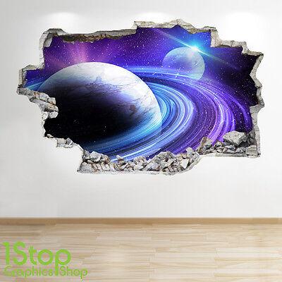 SPACE WALL STICKER 3D LOOK MOON PLANET GALAXY STARS BOYS BEDROOM  Z302