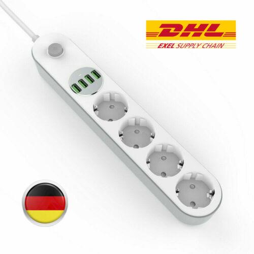 USB Steckdosenleiste Steckdose 4 Fach Mehrfachstecker Schukosteckdose DE