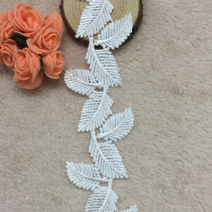1YD-White-Leaf-Lace-Edge-Trim-Applique-DIY-Sewing-Craft-Gift-Pack-Ribbon