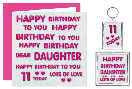 Ages 11-60 Card Keyring /& Magnet Pink Daughter Happy Birthday Gift Set