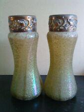 Pair of rare Kralik Iridescent green overshot Art Nouveau Glass Vases metal top