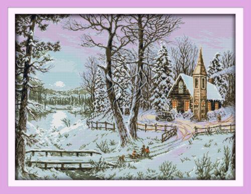 "Joy Sunday Counted Cross Stitch Kit The Winter Snowscape 26/""x20/"" 14 CT Fabric"