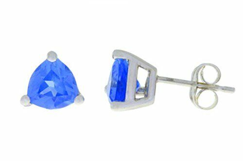 2 Ct Tanzanite Trillion Stud Earrings 14Kt White Gold