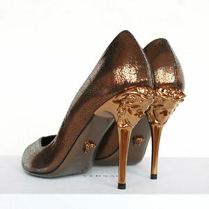 VERSACE metallic gold bronze medusa head Palazzo peep toe high ...