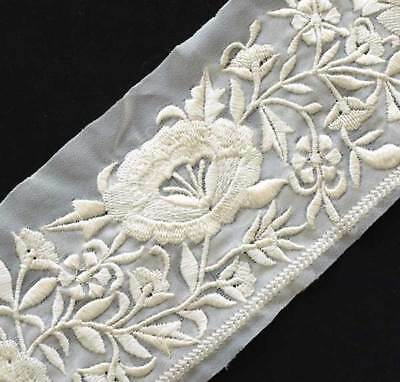 White On White. Sheer White Trim Embroidered With Ivory Flowers & Vines. Bridal