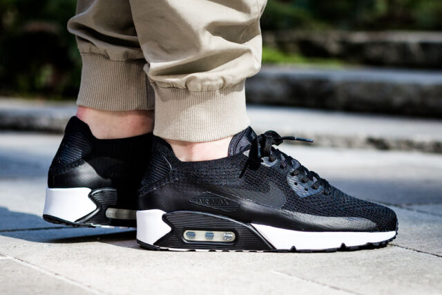 dbfd1c5c30 Nike Air Max 90 Ultra 2.0 Flynit Mens 11 Running Shoes Black White ...