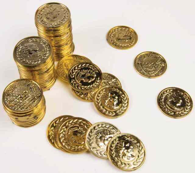 Gold Plastic Pirate Coins Fancy Dress Party Accessory Treasure