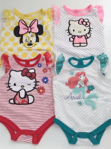 NEW Baby Girl Hello Kitty Minnie Mouse Ariel Princess Cotton bodysuit Romper