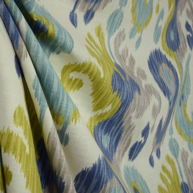 Journey Aquamarine Blue Grey Green Ikat Linen Fabric