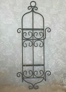 Heavy-Black-Wrought-Iron-Wall-2-Plate-Picture-Rack-For-Larger-Plates-Platters
