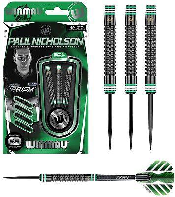 Paul Nicholson Hex Grip Black Onyx 90% Tungsten Steel Tip Darts by Winmau