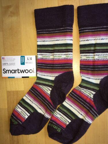 SmartWool Margarita Ultralight Crew Socks–Bordeaux Heather,Casual Dress–Women LG