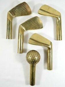 Set-of-5-Replacement-Brass-Handles-for-Fireplace-Tool-Set-Golf-Ball-Clubs-RARE
