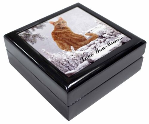Ginger Snow Cat 'Love You Mum' KeepsakeJewellery Box Christmas Gift, AC63lymJB
